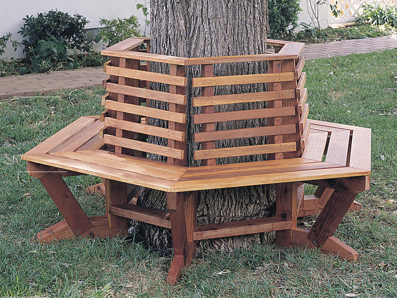 Building Plans Front of Home Tree Seat Woodworking 066D-0001 | House Plans and More