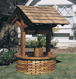 Wood wishing well with wood shingle base