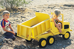 Children's wood dump truck toy painted yellow