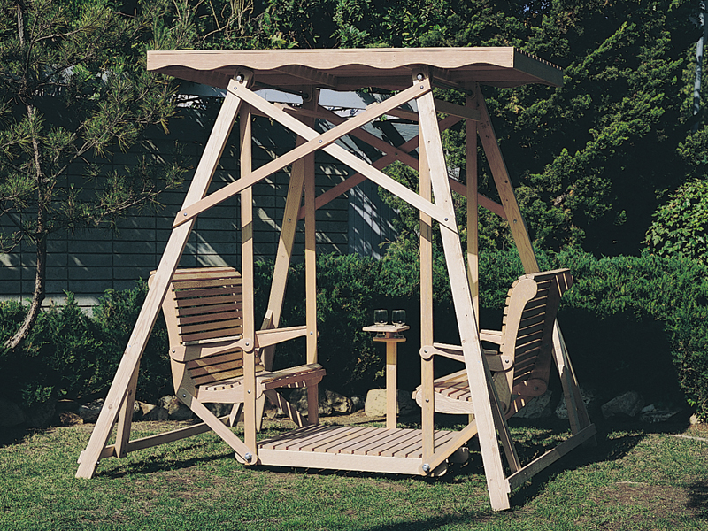 English Tudor Plan Front of Home Canopy Glider Swing