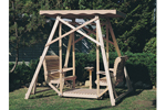 Outdoor wood canopy glider swing is a great addition to a backyard