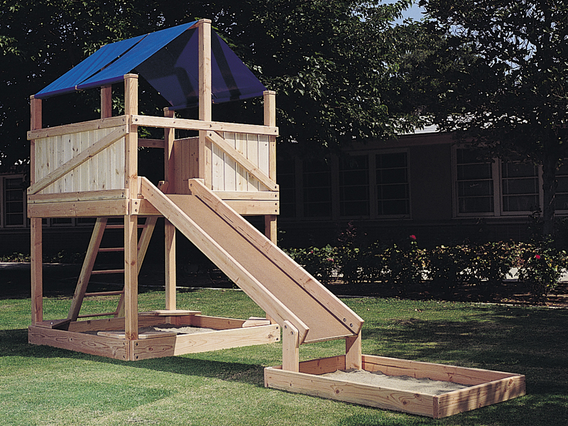 Wood play structure has canvas top for a shaded area and a great slide