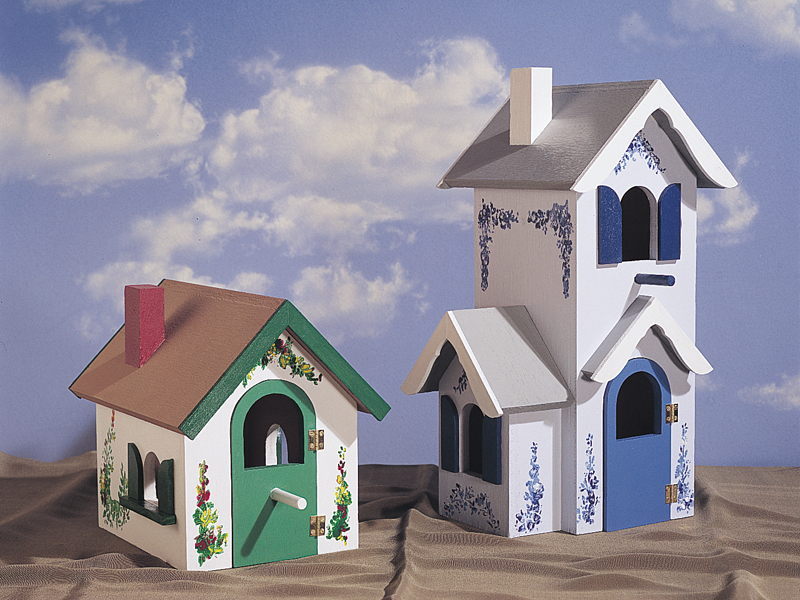Two Victorian birdhouse styles with one taller and another style shorter