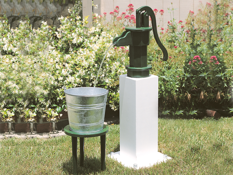 Old-fashioned wooden water pump is great for a country style or rustic home plan
