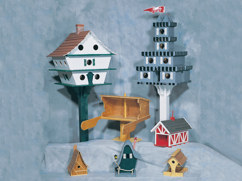 Farmhouse Plan Front of Home Birdhouse Assortment