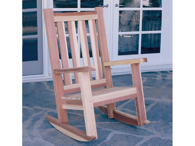 All wood porch rocker is a great addition to a country style porch or patio