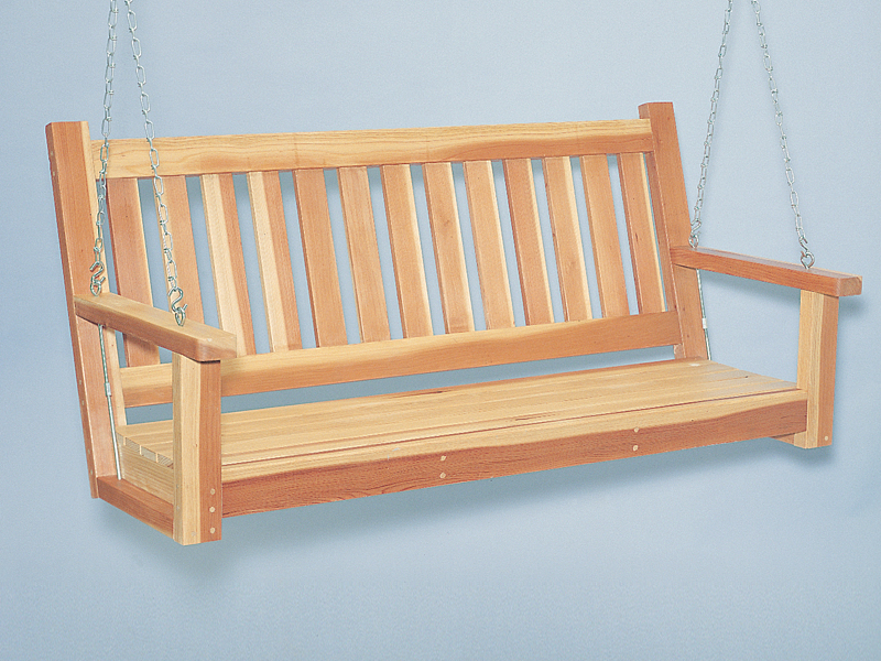 Acadian Plan Front of Home Porch Swing