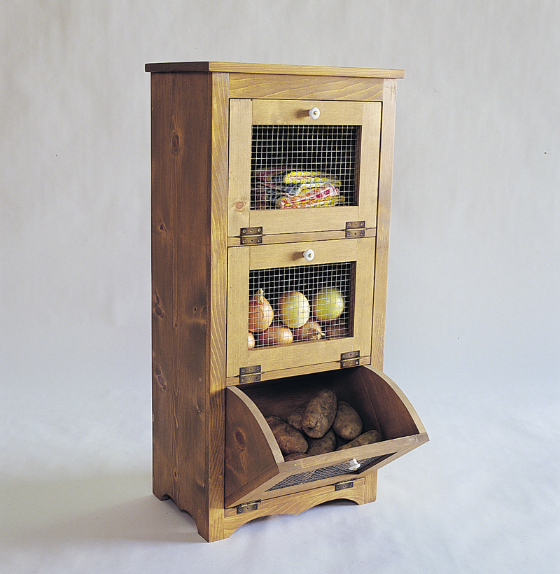 Country style storage bins are great for the kitchen or pantry and hold a variety of produce