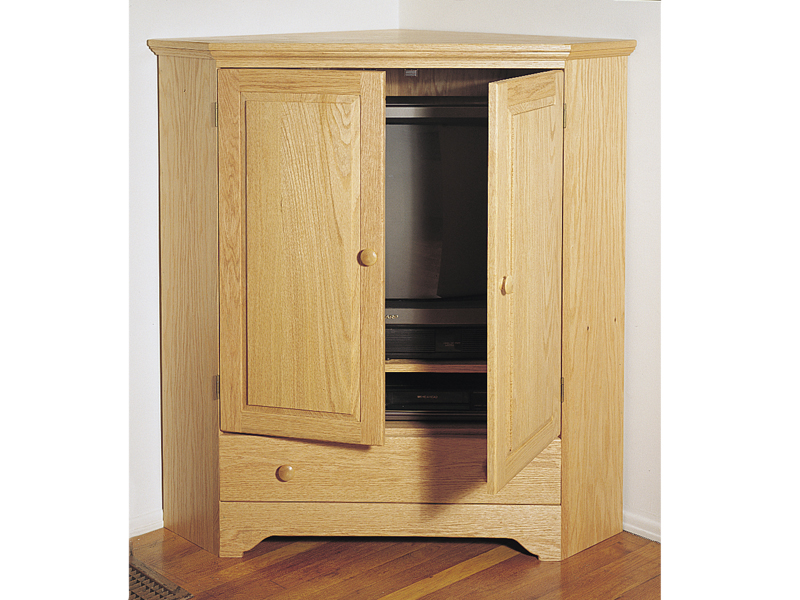 Traditional Plan Front of Home Corner TV Cabinet