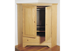 This corner TV cabinet provides a handsome place to hide the TV behind doors