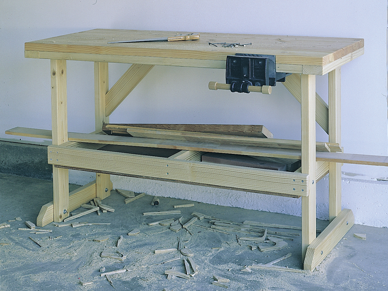 This woodworking bench provides plenty of space for all sorts of handyman projects related to the home