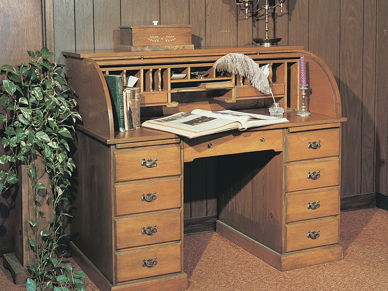 This old-fashioned roll-top desk creates an ideal location for a home office or computer