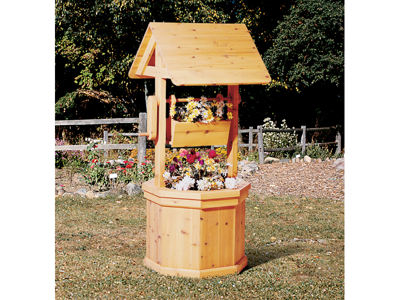 Simple rustic all wood wishing well