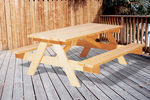 8' rectangle shaped picnic table with built-in benches