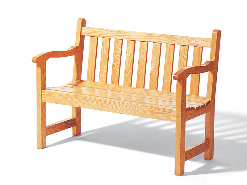 Rustic unpainted wood English garden bench