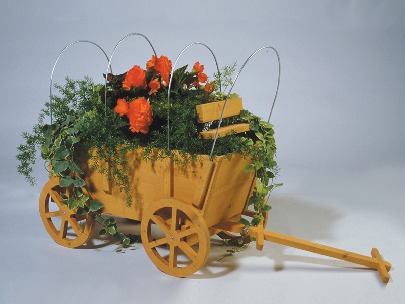 All wood covered wagon planter