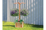 Freestanding hanging planter box hangs two plants and allows flowers to be planted in the square base