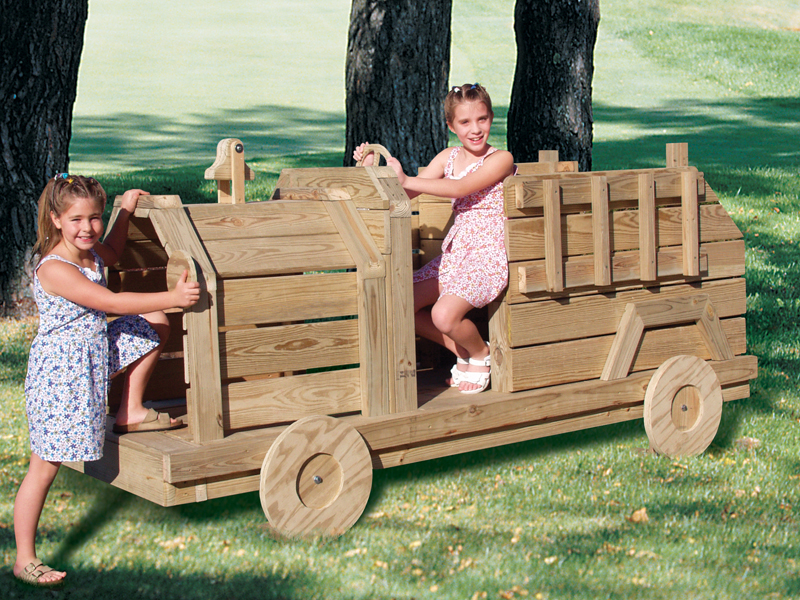 Children's wood fire engine is a great play structure with old-fashioned country charm