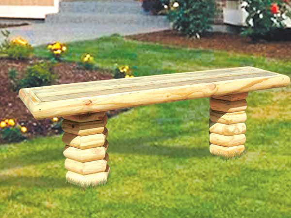 Timber bench furniture plan 097d 0023 house plans and more for Landscape timber bench