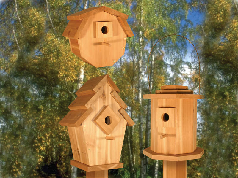Birdhouse Village II includes three unqie birdhouses all with a different shape and size