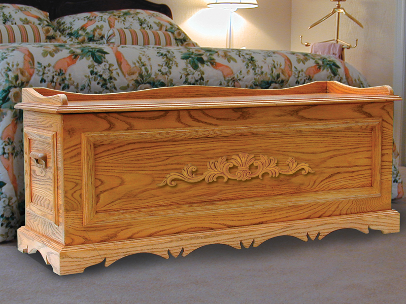 Ornate hope chest is large in size and is the ideal place to store mementos and family photos