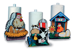 Country style paper towel holders feature scenes you can paint of a rooster, chicken and cow