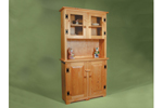 This tall country hutch offers is made of wood and has doors across the bottom and a center shelf