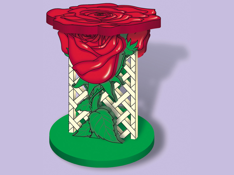 This rose plant stand is a striking place for displaying your favorite plant