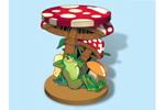 This mushroom plant stand adds a whimsical touch to a room or patio area