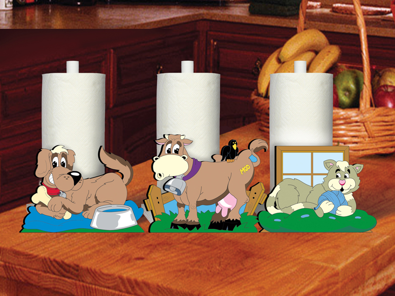 Happy home painted paper towel holders has a design with a dog, cow and cat