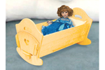 All wood doll cradle provides a great addition to a children's play area