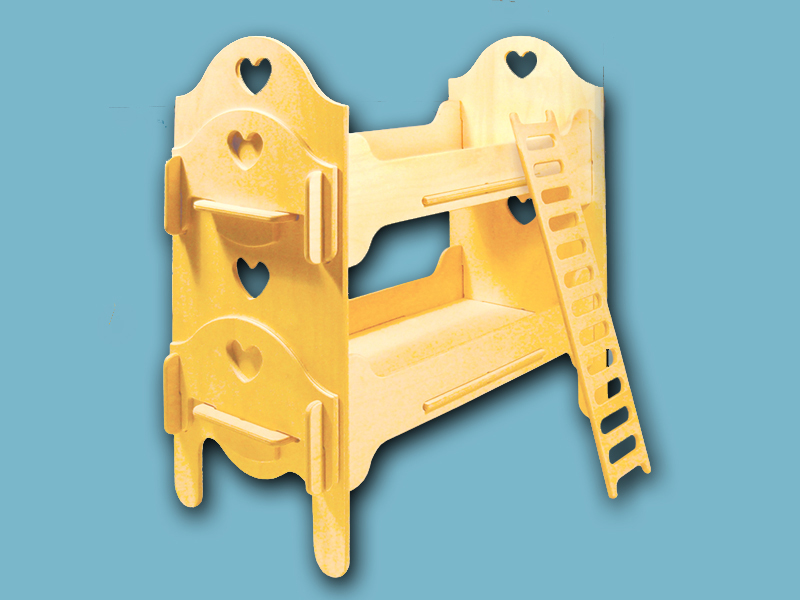 All wood doll bunk beds have cut out hearts for a charming look