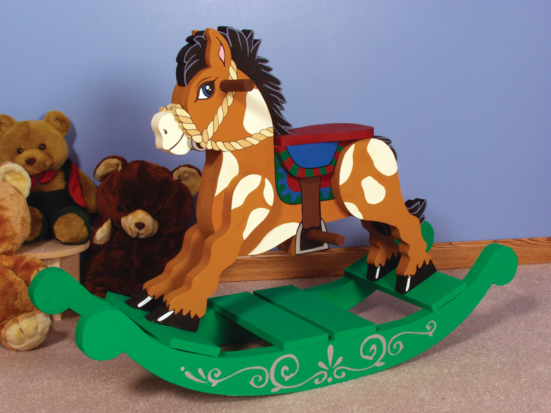 Old-fashioned rocking horse can be painted to match the décor and color scheme of your children's bedroom