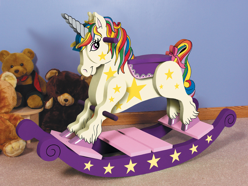 Traditional Plan Front of Home Unicorn Rocking Horse
