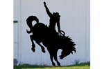Bucking bronco yard art adds the feel of the true west to your backyard