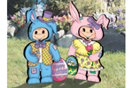 Easter dress-up darlings is a yard art pattern of two kids dressed in their Easter finest