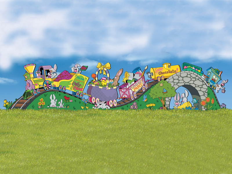 Bunny train is a fun and colorful yard art pattern of an Easter bunny train