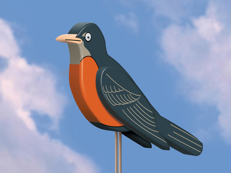 Big 3D robin adds a touch of Spring to your backyard