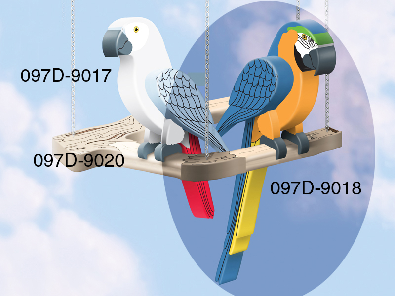 Colorful 3D blue macaw is a great addition to a sun porch or patio area