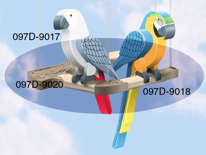 The perch provides the perfect place for the 3D birds to sit