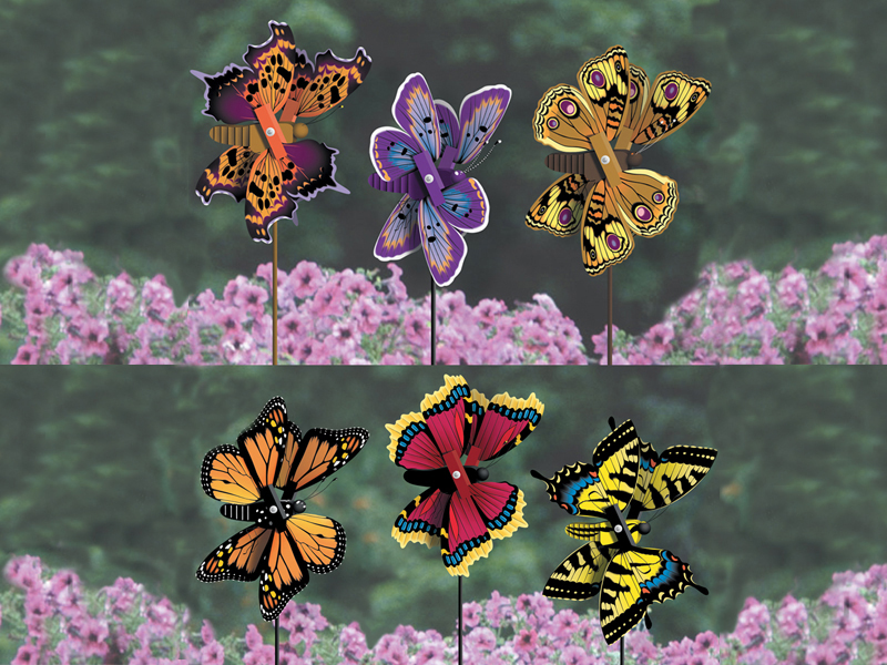 Six different style beautiful butterfly whirligigs add whimsey, color and movement to your favorite flower garden