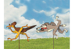 Fun yard art patterns of coyote and roadrunner will be favorties for your children