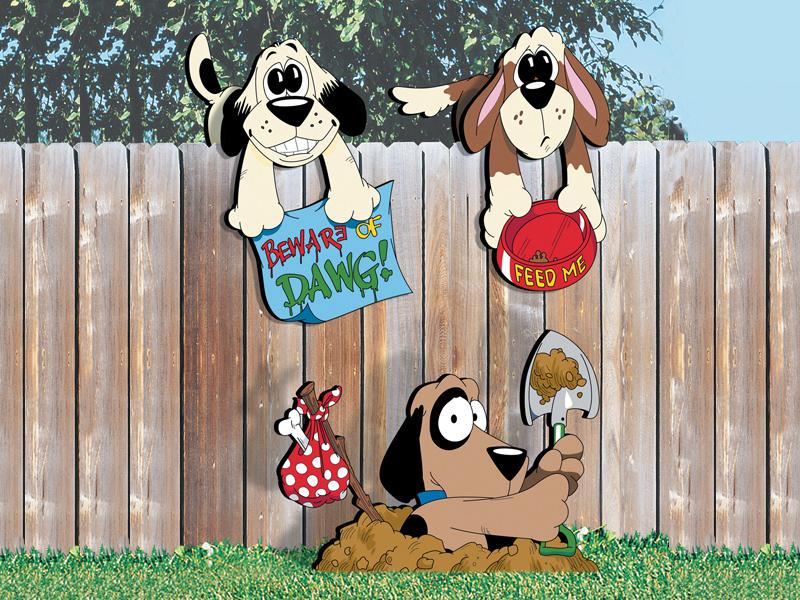 Three fence dog yard art patterns add fun decoration to your backyard