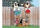 Three fence dog yard art patterns add fun decoration to your backyard
