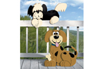Two different styles of layered lap dogs offer a fun and creative outdoor decoration