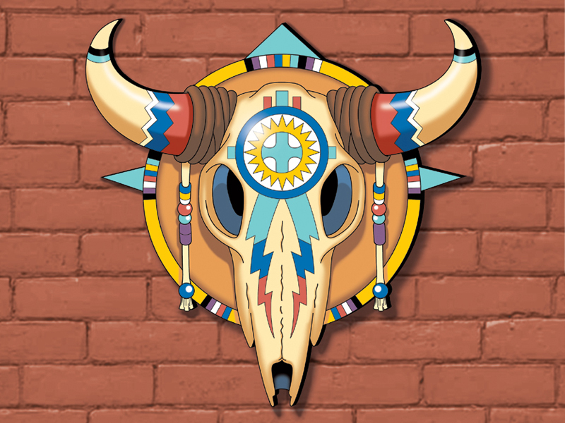 Steer skull yard art pattern has great Southwestern style