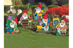A collection of five garden gnomes is a favorite yard art pattern group