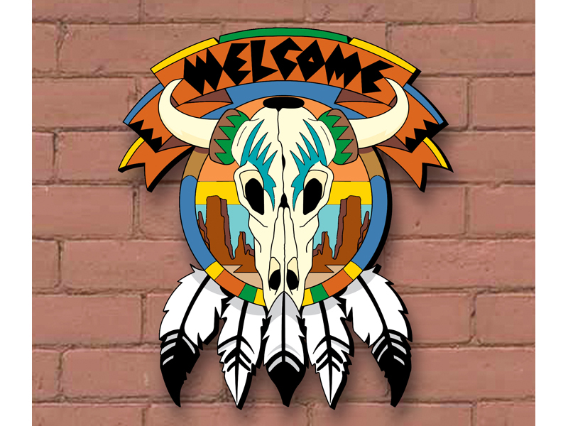 This Southwester welcome skull has Native American Indian style and great use of color