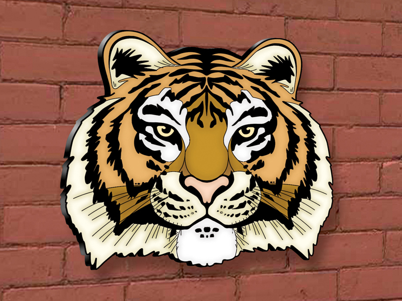 This tiger head yard art patternis perfect for a school mascot statement