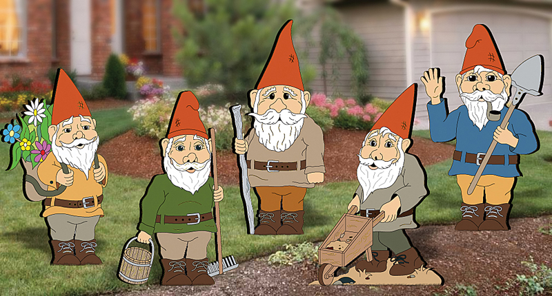 This yard art pattern includes five different garden gnomes